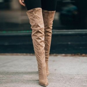 NEW🔥Taupe Slouchy Over Knee Boot Chunky High Heel